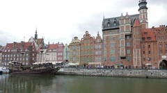 Gdansk, Poland. The Long Riverside promenade and old galleon ship. Timelapse 4k - stock footage
