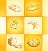bakery collection labels pack for bread, baguette, loaf, cake, baked, croissa - stock illustration