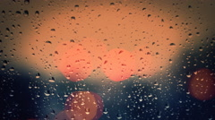 Fire Rain Bokeh lights  glass Rainy day winter is coming Stock Footage
