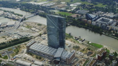 Frankfurt skyline and infrastructure from helicopter Stock Footage