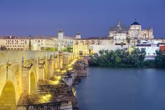 cordoba, spain at the roman bridge and mosque-cathedral - stock photo