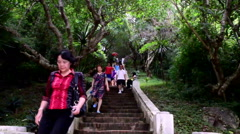 -Tourists walking on a little way to the top of Phu Si Stock Footage