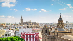 Seville, Spain City Skyline Stock Footage