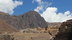 Ollantaytambo, Peru - Tourists visiting Inca ruins and temples Stock Footage