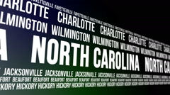 North Carolina State and Major Cities Scrolling Banner Stock Footage