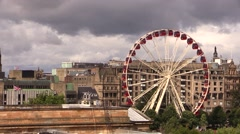 Carousel wheel in Edinburgh Princess Street Stock Footage