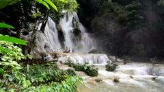 Tat Kuang Si water fall in Laos Stock Footage