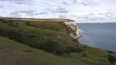 Wonderful nature at the UK coast - The white cliffs of Dover - stock footage