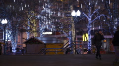 Christmas, New year time in city streets, decorated and illuminated. Moscow. Stock Footage