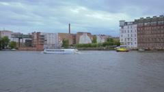 Berlin cityscape near Oberbaum Bridge, Germany, 4k UHD Stock Footage