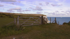 Wonderful meadows at the white cliffs of Dover Stock Footage