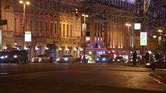 Establishing shot. Christmas, New year time in city streets. Moscow. Stock Footage