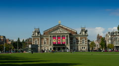 Hyperlapse of the Museum Square in Amsterdam Stock Footage