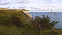 Great landscape at the white cliffs of Dover Stock Footage