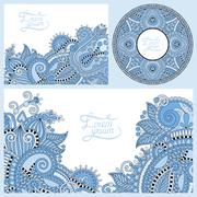 Blue colour set of floral decorative background, template frame Stock Illustration