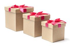 three gift boxes - stock image - stock photo