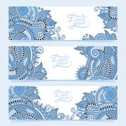 Stock Illustration of Set of three horizontal banners with decorative blue colour