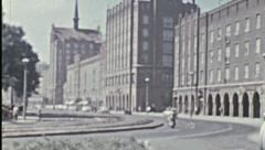 Rostock 1960's: life in the street and socialist architecture - stock footage