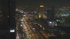 Aerial view Sheikh Zayed Road busy freeway Dubai city night cityscape Deira life Stock Footage