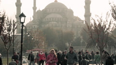 Blue Mosque, silhouette, Istanbul, pedestrians walking on pavement, sidewalk, Stock Footage