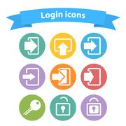 Vector set of white login icons with arrow,lock,key,shape,sign Stock Illustration