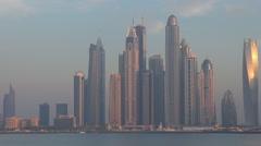 Beautiful Marina panorama sunset water lake reflection Dubai cityscape skyscrape Stock Footage