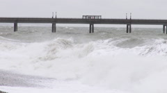 Big waves of the stormy sea at Deal UK Stock Footage