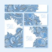 collection of blue colour decorative floral greeting cards - stock illustration
