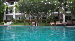 Swimming pool in tropical hotel Stock Footage