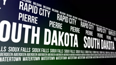 South Dakota State and Major Cities Scrolling Banner Stock Footage