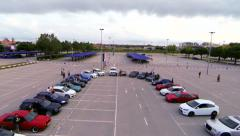 Aerial Drone Tuned Cars Meeting - stock footage
