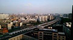 Chengdu cityscape and highway in the afternoon Stock Footage