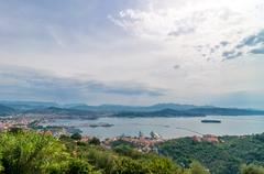 panoramic view  of la spezia city and gulf in liguria, italy - stock photo