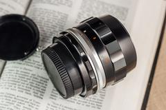 Old film camera manual focus lens Stock Photos