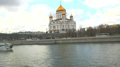 River Moskva and Cathedral of Christ the Saviour - stock footage