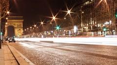 Paris Night Traffic TL at 59.9fps - stock footage