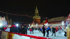 Moscow, Red Square at Christmas, New Year time. Ice rink and Chrismas fair. - stock footage