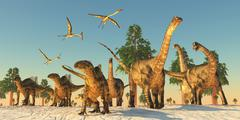 Dinosaur drought migration Stock Illustration