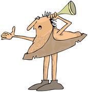 Hard of hearing caveman Stock Illustration