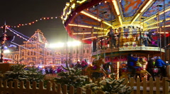 Moscow, Red Square at Christmas/New Year time. Carousel on Chrismas fair. - stock footage