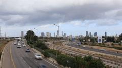 The movement on roads of Tel Aviv. Ayalon Highway, Israel Stock Footage