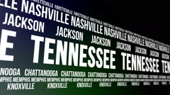 Tennessee State and Major Cities Scrolling Banner Stock Footage