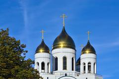 Domes of Cathedral of Christ the Saviour. Kaliningrad, Russia - stock photo