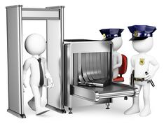3d white people. security control airport access. metal detector Stock Illustration