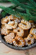 Christmas cookies in a plate - stock photo