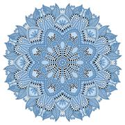 mandala, blue colour circle decorative spiritual indian symbol - stock illustration