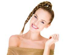 Slim Pretty White Woman in Braided Hair Style Stock Photos