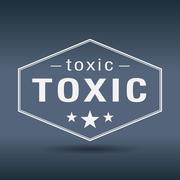 Stock Illustration of toxic hexagonal white vintage retro style label