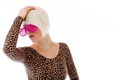 Model isolated on plain background ashamed hiding face in hand Stock Photos