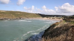 Porthcothan Bay Cornwall England UK between Newquay and Padstow Stock Footage